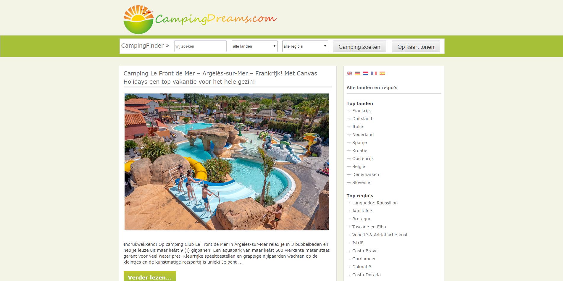 CampingDreams website - Blogs4Travel