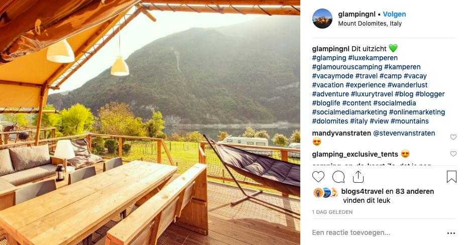 Instagram Glamping.nl - juiste hashtags vinden