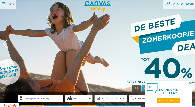 Canvas Holidays website